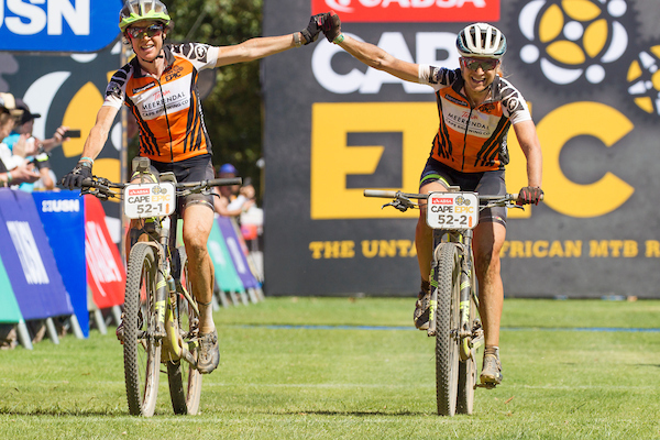 Esther Suss and Jennie Stenerhag of team Meerendal CBC win stage 4 of the 2017 Absa Cape Epic Mountain Bike stage race from Elandskloof in Greyton to Oak Valley Wine Estate in Elgin, South Africa on the 23rd March 2017  Photo by Greg Beadle/Cape Epic/SPORTZPICS