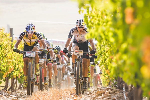 Henrique Avancini of Cannondale Factory Racing XC & Jaroslav Kulhavy of Investec-Songo-Specialized during stage 4 of the 2017 Absa Cape Epic Mountain Bike stage race from Elandskloof in Greyton to Oak Valley Wine Estate in Elgin, South Africa on the 23rd March 2017  Photo by Ewald Sadie/Cape Epic/SPORTZPICS
