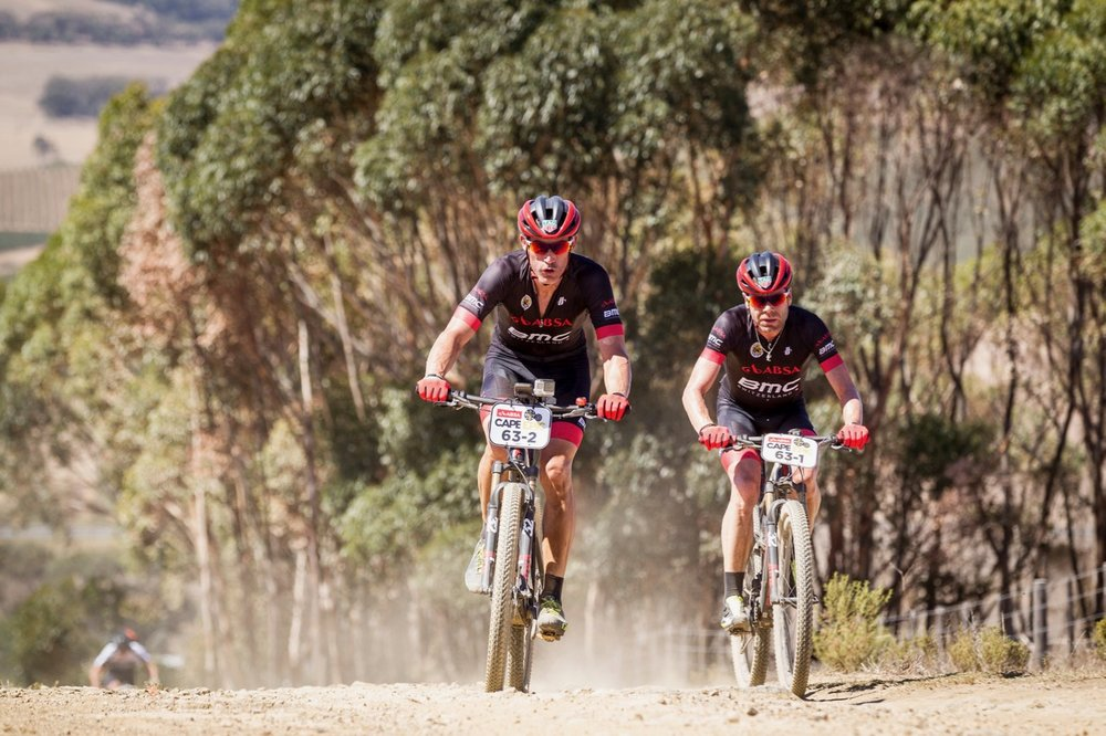 George Hincapie & Cadel Evans of BMC Absa Racing Team during the Prologue of the 2017 Absa Cape Epic Mountain Bike stage race held at Meerendal Wine Estate in Durbanville, South Africa on the 19th March 2017  Photo by Nick Muzik/Cape Epic/SPORTZPICS