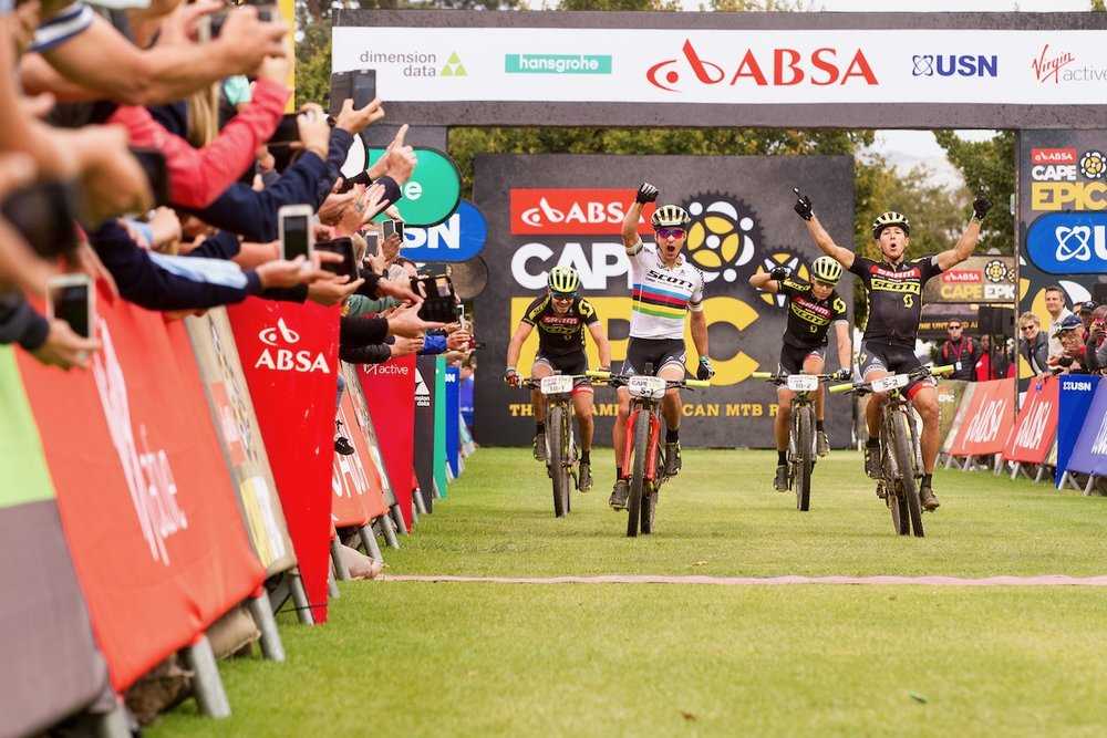 Nino Schurter and Matthias  Stirnemann of Scott SRAM MTB Racing win stage 5 of the 2017 Absa Cape Epic Mountain Bike stage race held from Oak Valley Wine Estate in Elgin, South Africa on the 24th March 2017  Photo by Nick Muzik/Cape Epic/SPORTZPICS