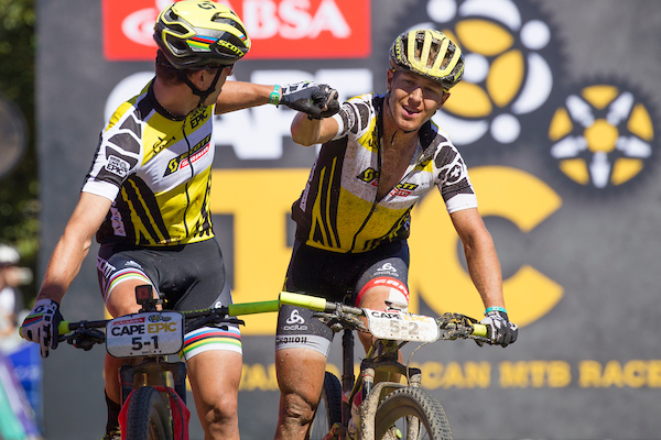 Nino Schurter and Matthias Stirnemann of team SCOTT-SRAM MTB Racing win stage 6 of the 2017 Absa Cape Epic Mountain Bike stage race from Oak Valley Wine Estate in Elgin, South Africa on the 25th March 2017  Photo by Greg Beadle/Cape Epic/SPORTZPICS