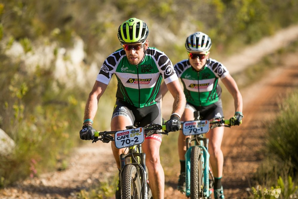 Thomas Frischknecht and Jenny Rissveds during stage 6 of the 2017 Absa Cape Epic Mountain Bike stage race from Oak Valley Wine Estate in Elgin, South Africa on the 25th March 2017  Photo by Mark Sampson/Cape Epic/SPORTZPICS