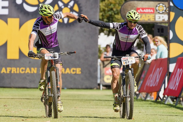 Heinz Zoerweg and Barti Bucher of team Meerendal CBC 3 win Grandmaster category of stage 6 of the 2017 Absa Cape Epic Mountain Bike stage race from Oak Valley Wine Estate in Elgin, South Africa on the 25th March 2017  Photo by Greg Beadle/Cape Epic/SPORTZPICS