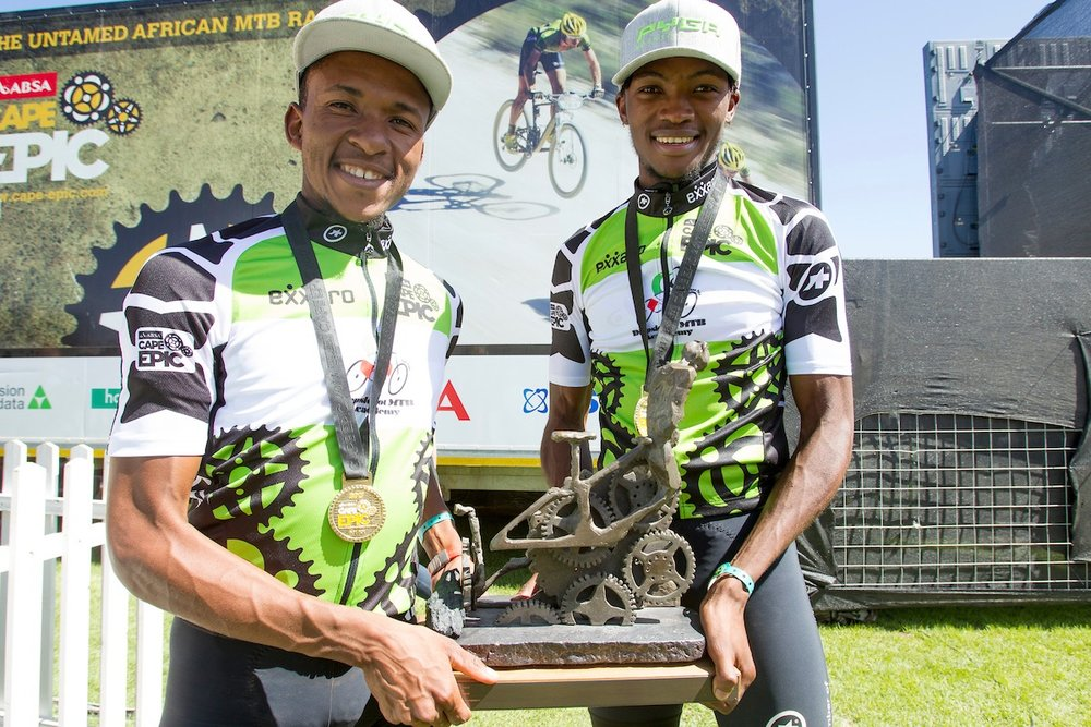 Phillimon Sebona and William Mokgopo of team Diepsloot MTB Academy 1 win the overall category for the Exxaro jersey after (stage 7) of the 2017 Absa Cape Epic Mountain Bike stage race from Oak Valley Wine Estate in Elgin to Val de Vie in Paarl, South Africa on the 26th March 2017  Photo by Greg Beadle/Cape Epic/SPORTZPICS