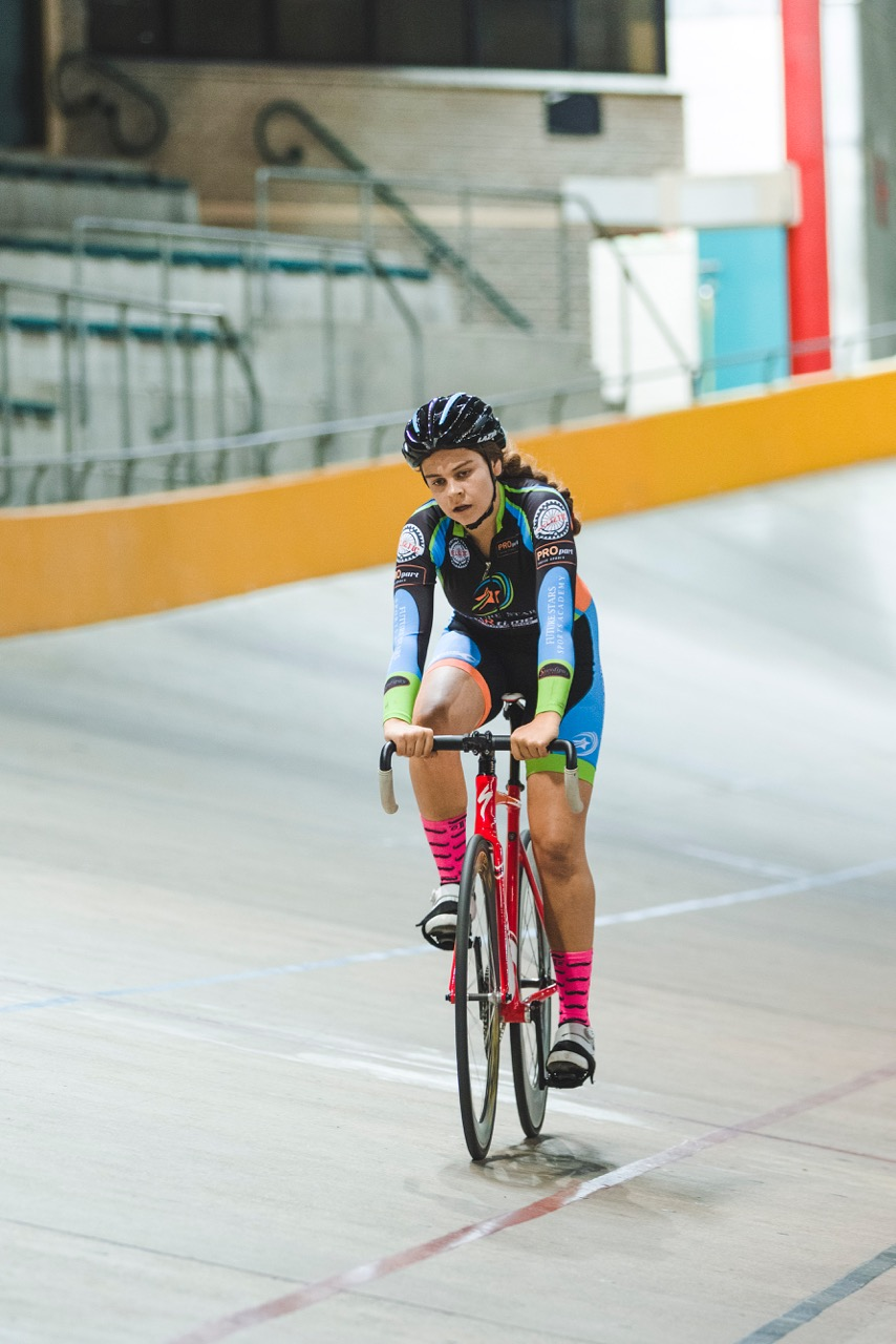 Courtney Smith took the Junior Women's Scratch Race title at the 2017 SA National Track Championships at the Bellville Velodrome in the Western Cape on Wednesday 5 April. Photo: DoubleST