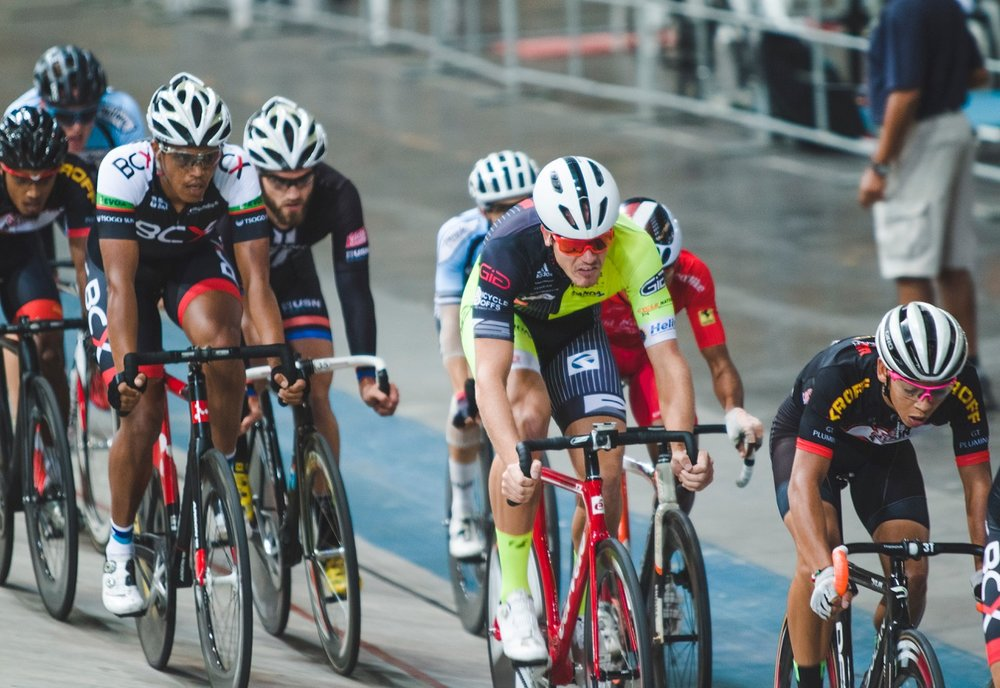 Jean Spies (centre) won the Elite Men's Keirin Final at the 2017 SA National Track Championships in the Western Cape on Friday 7 April. Photo: DoubleST