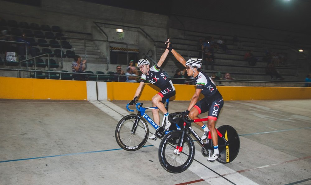 Steven van Heerden (left) and Nolan Hoffman cruised to a comfortable victory after the Elite Men's Madison event at the 2017 SA National Track Championships in the Western Cape on Friday 7 April. Photo: DoubleST