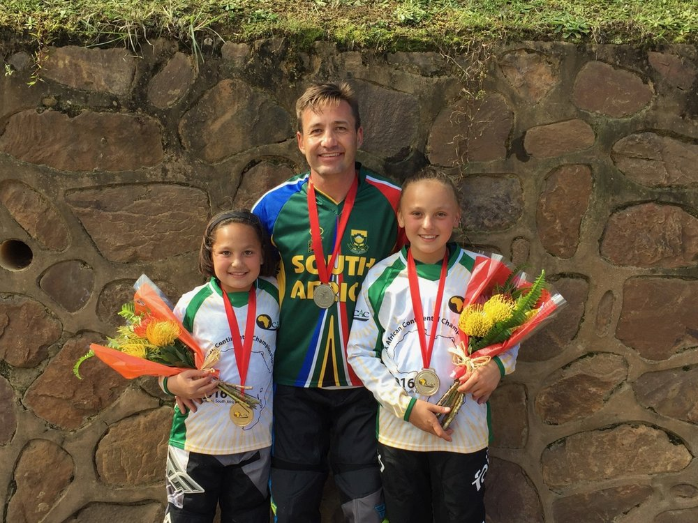 The Uys Family: (from left to right) Kyla, Dirk and Kita prepare for the first rounds of the SA BMX National Age Group (NAG) Series at Germiston BMX Club from 14-16 April. Photo: Supplied