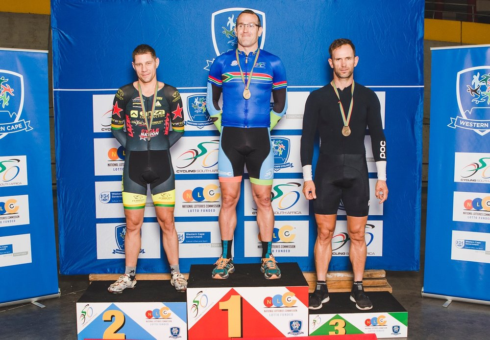 The Master Men's poidium for the 40-44 in the Time Trial at the 2017 SA National Track Championships in Bellville, from left: Jacqus Fullard, Hylton Belitzky, Thys Oosthuizen. Photo: DoubleST