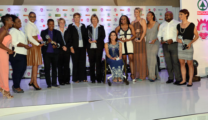 Winners unveiled at the 2014 SPAR gsport Awards included (from left) Busisiwe Mokwena (Woman in Media), Andi Dubula (on behalf of Volunteer of the Year, Khweshy Dubula), Unathi Batyati Fillis from ACSA (Sponsor of the Year), Portia Modise (gsport Special Recognition Award), Tracy-Lee Botha, Colleen Piketh and Susan Nel (representing Federation of the Year, Bowls SA), Justine Asher (Athlete of the Year with Disability), Ntando Stemmet (Social Media Star of the Year), Lenize Potgieter (Up and Coming Athlete of the Year), Zanele Mdodana (Style Star of the Year), Edward Khoza (representing Coach of the Year, Hilton Moreeng) and Ashleigh Moolman Pasio (SPAR gsport Athlete of the Year) at the Wanderers Club, in Illovo, Johannesburg, on Monday, 24 November, 2014. Not included in this photo were 2014 Hall of Fame inductee sports broadcasting pioneer, Tinky Pringle, and Women's Football Development champion, Pearl Mosoane. Photo: Rebecca Hearfield / gsport