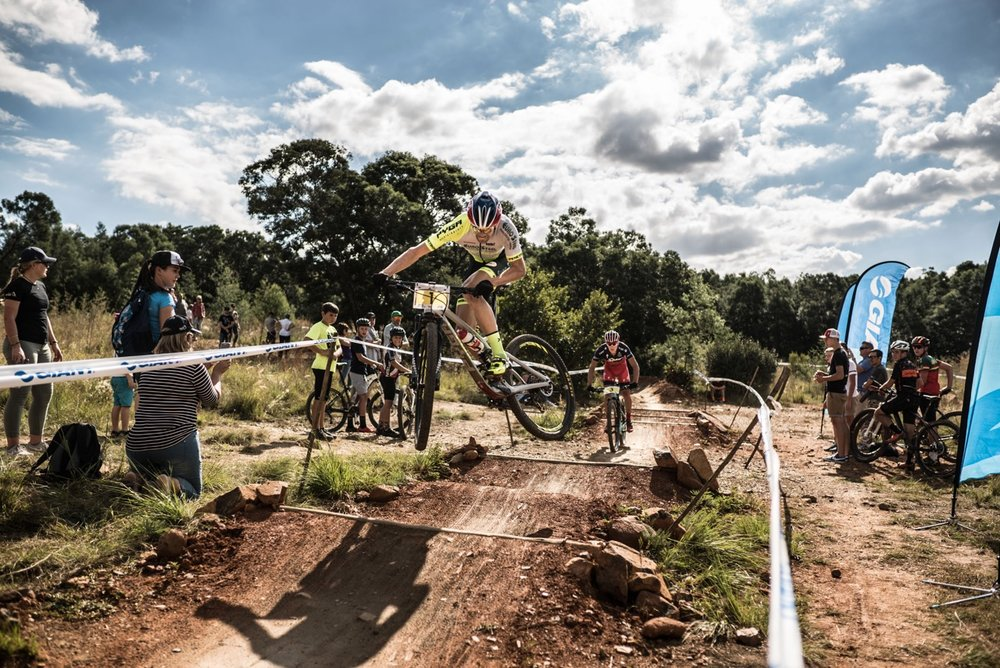 Philip Buys (PYGA Eurosteel) gets some air over the jump section at the second round of the 2017 SA National MTB Cup Series XCO at the Wolwespruit Bike Park in Tshwane on Saturday 15 April 2017. 📷 Etienne Schoeman