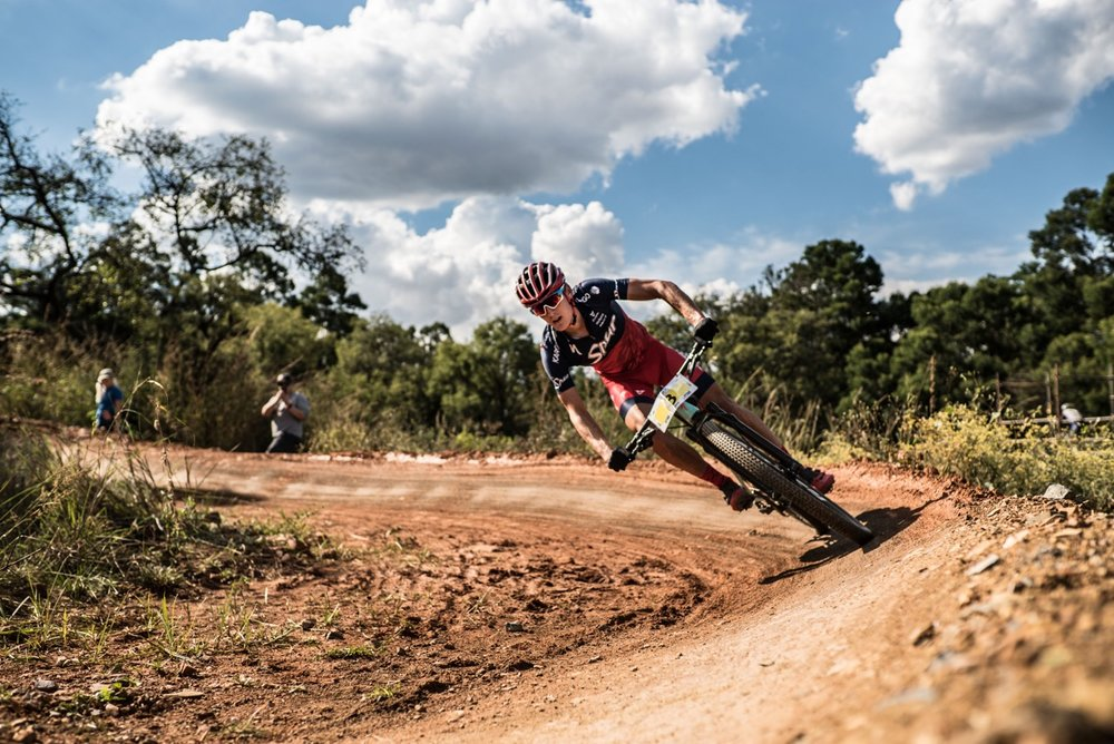 Alan Hatherly (Team Spur) commanded his race over six laps of the short and punchy four-kilometre track in a time of one hour 22 minutes and 54 seconds at the second round of the 2017 SA National MTB Cup Series XCO at the Wolwespruit Bike Park in Tshwane on Saturday 15 April 2017. 📷 Etienne Schoeman