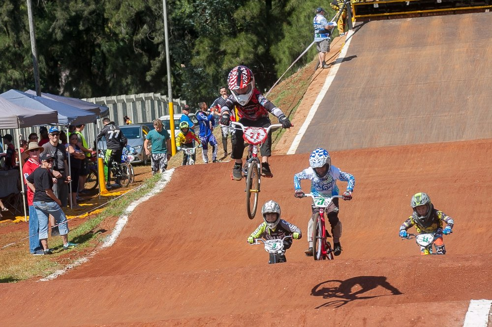 Eight-year-old rider, Braden Schutte, won all his motos at the opening rounds of the 2017 SA BMX National Age Group (NAG) Series, which took place at Germiston BMX Club in Gauteng from Friday 14 to Sunday 16 April. 📷  Daryn Varney