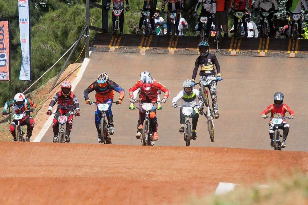 Riders tackle the first jump out of the start gate at the opening rounds of the 2017 SA BMX National Age Group (NAG) Series, which took place at Germiston BMX Club in Gauteng from Friday 14 to Sunday 16 April. 📷  Daryn Varney