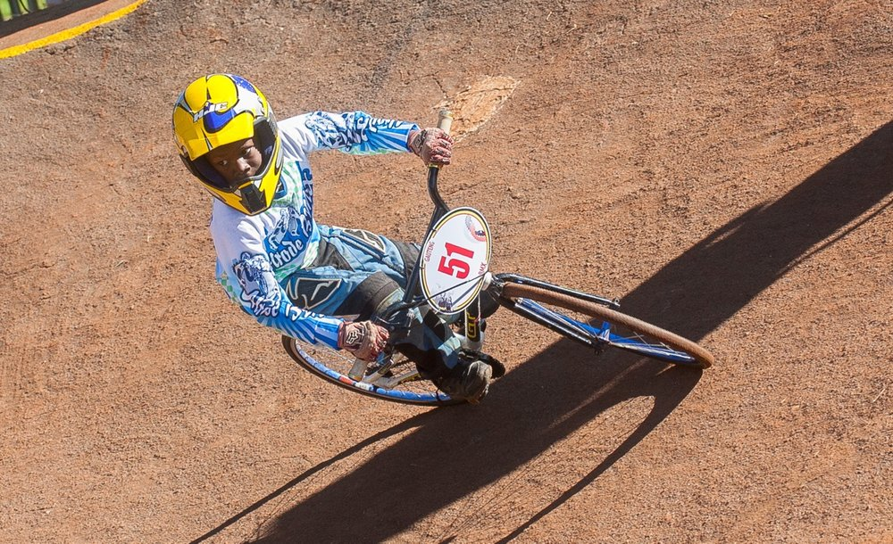 Young local development rider from Alrode BMX Club navigates a corner at the opening rounds of the 2017 SA BMX National Age Group (NAG) Series, which took place at Germiston BMX Club in Gauteng from Friday 14 to Sunday 16 April. 📷  Daryn Varney