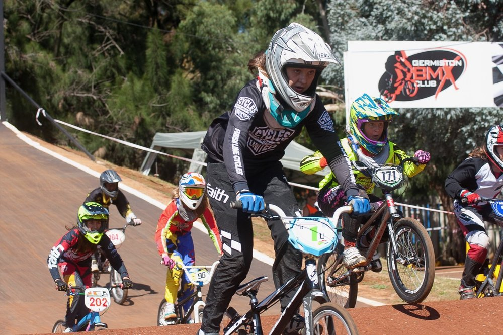 Young Kita Uys in the 13-years category won all of her races at the opening rounds of the 2017 SA BMX National Age Group (NAG) Series, which took place at Germiston BMX Club in Gauteng from Friday 14 to Sunday 16 April. 📷  Daryn Varney