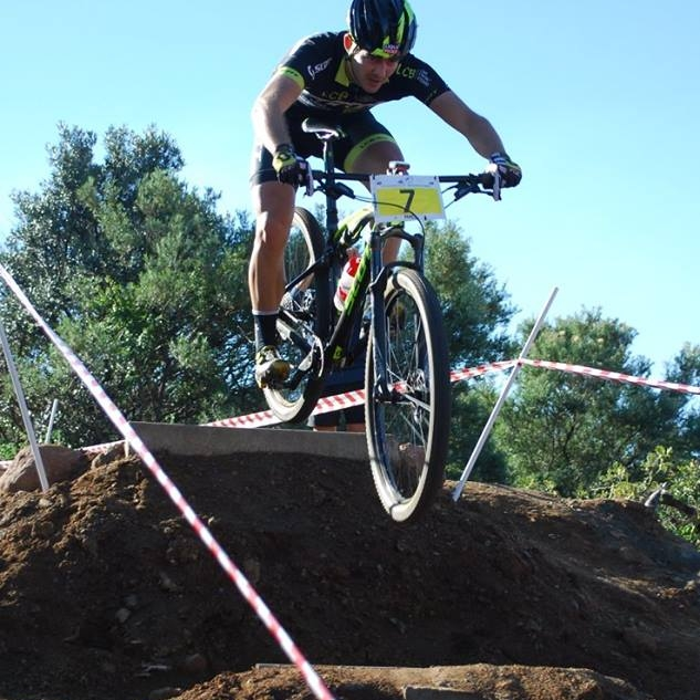 Arno du Toit tackles a gap jump, which will be a prominent feature at the penultimate round of the 2017 SA National MTB Cup Series XCO (UCI Cat 1 and Junior World Series), which takes place at Happy Valley Conservancy in Bloemfontein on Saturday 6 May. Photo: supplied