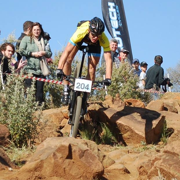 Jarrod van den Heever negotiates the rock garden which will be found at the penultimate round of the 2017 SA National MTB Cup Series XCO (UCI Cat 1 and Junior World Series), which takes place at Happy Valley Conservancy in Bloemfontein on Saturday 6 May. Photo: supplied