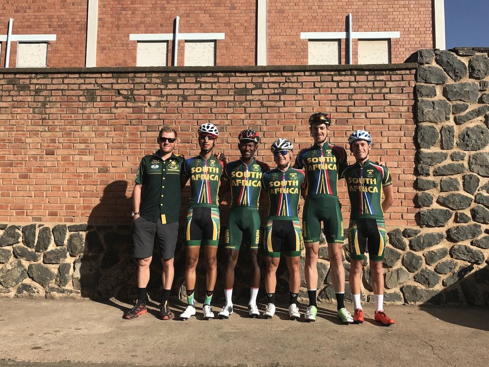 (from left to right) Team Manager Peter-Lee Jefferies, Jayde Julius, Myles von Musschenbroek, Brad Potgieter and Chris Jooste. Team South Africa took part in the 2017 Tour of Eritrea from 18-22 April.