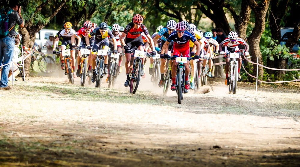 Alan Hatherly (right) took the Elite Men's title at the third round of the SA National MTB Series XCO at the Happy Valley Conservancy in Bloemfontein on Saturday 6 May. Photo: Reblex Photography