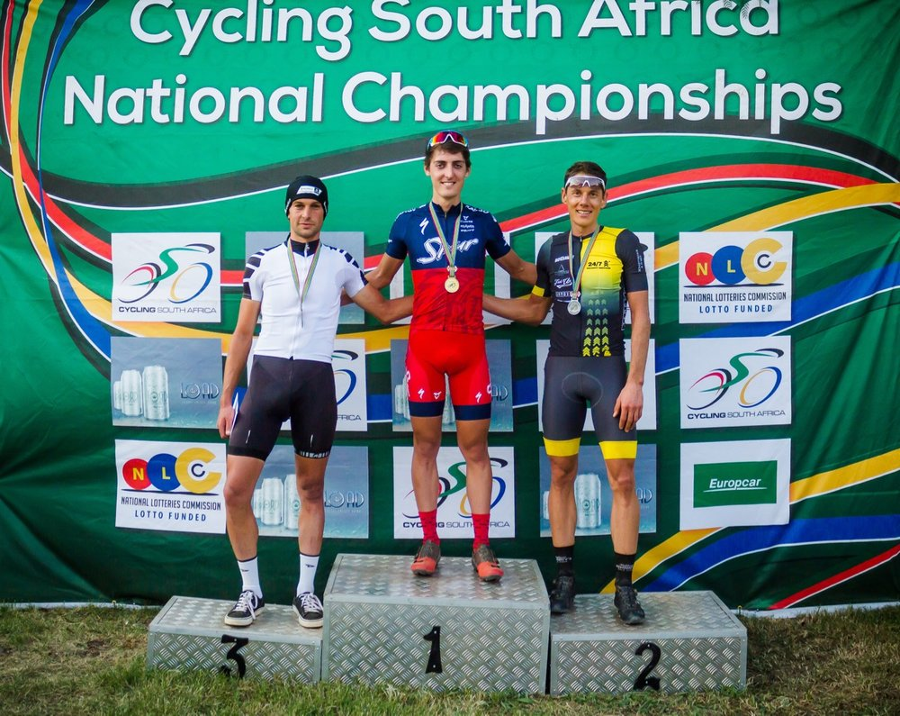 The Elite Men's Podium (from left) Stuart Marais, Alan Hatherly and Jan Withaar at the third round of the SA National MTB Series XCO at the Happy Valley Conservancy in Bloemfontein on Saturday 6 May. Photo: Reblex Photography
