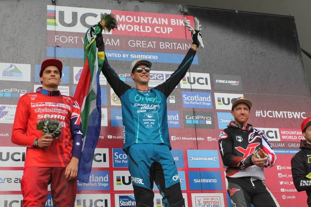 Greg Minnaar celebrated his seventh win at Fort William and his 20th Downhill World Cup win of his career in Scotland on Sunday 4 June. Photo: Kathy Sessler