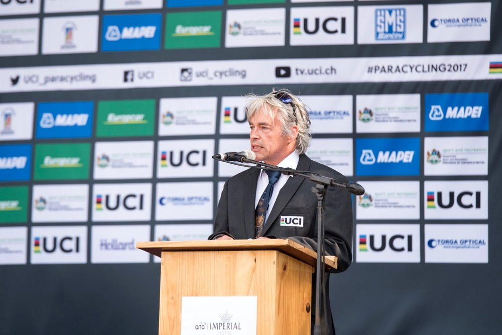 In wonderfully warm winter weather indicative of the KwaZulu-Natal Midlands, UCI Para-cycling Commission Member Louis Barbeau officially declared the 2017 UCI Para-cycling Road World Championships open on Tuesday 29 August. Photo: CyclingSA/BOOGS Photography