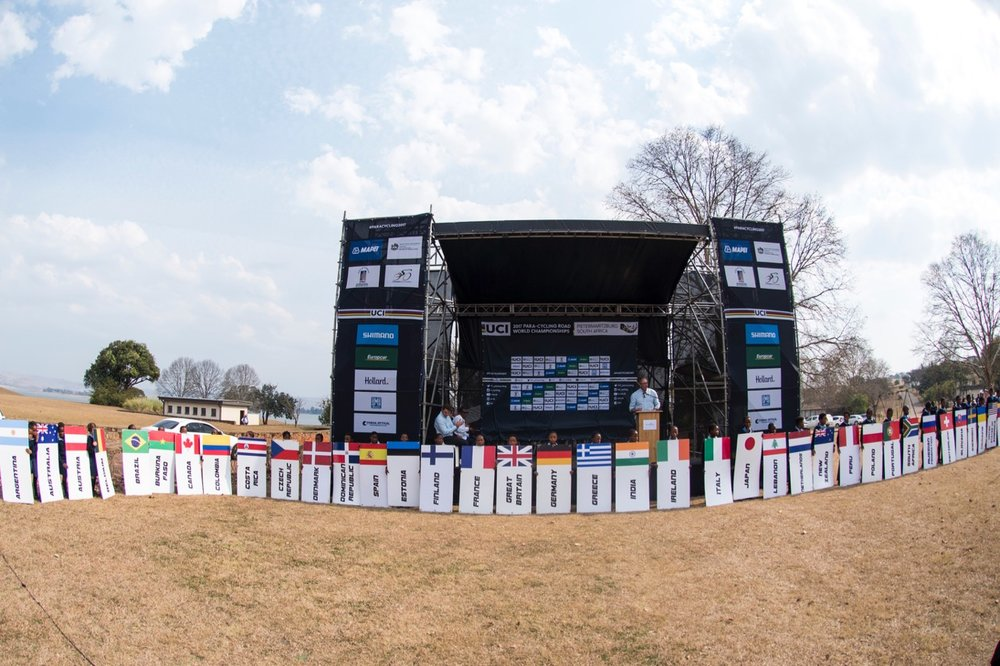 Lions River Primary School Pupils held signboards of 38 nations competing at the 2017 UCI Para-cycling Road World Championships opening on Tuesday 29 August. Photo: CyclingSA/BOOGS Photography