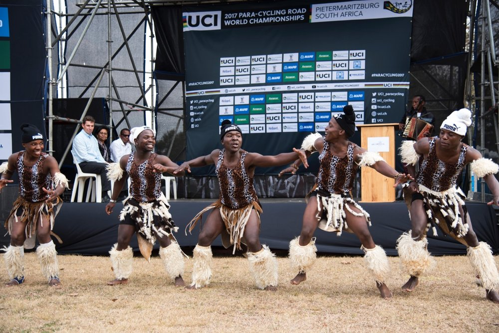 Dancers from the Edendale Zulu Dance Group celebrate the opening of the 2017 UCI Para-cycling Road World Championships on Tuesday 29 August. Photo: CyclingSA/BOOGS Photography