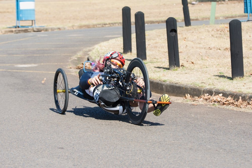 German H4 handcyclist Christiane Reppe was elated with her gold medal today during the Time Trial on Day 1 of the 2017 UCI Para-cycling Road World Championships held at Midmar Dam Howick, South Africa, on Thursday 31 August 2017. Photo credit: Andrew Mc Fadden