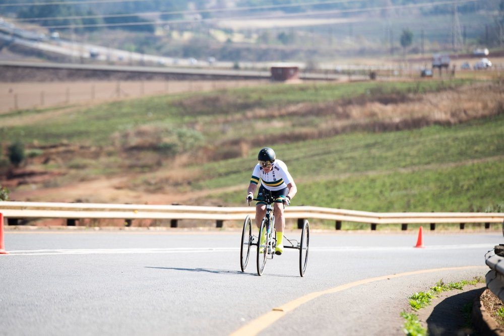 Australian Carol Cooke trumped the 15.5km course in the Women's T2 Tricycle race to claim a gold medal during the Time Trial on Day 1 of the 2017 UCI Para-cycling Road World Championships held at Midmar Dam Howick, South Africa, on Thursday 31 August 2017. Photo credit: Andrew Mc Fadden