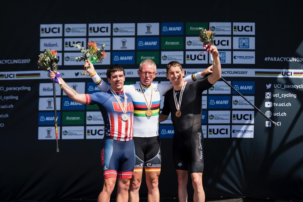 Multiple UCI World Champion Hans-Peter Durst (GER) won gold in the Men's T2 race today. He is flanked by Ryan Boyle (USA, left) and Stephen Hills (NZL, right) during the Time Trial on Day 1 of the 2017 UCI Para-cycling Road World Championships held at Midmar Dam Howick, South Africa, on Thursday 31 August 2017. Photo credit: Andrew Mc Fadden