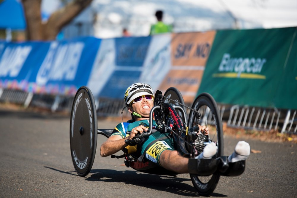 South African Pieter du Preez won South Africa's first medal when he claimed silver in the Men's H1 handcycle event during the Time Trial on Day 1 of the 2017 UCI Para-cycling Road World Championships held at Midmar Dam Howick, South Africa, on Thursday 31 August 2017. Photo credit: Andrew Mc Fadden