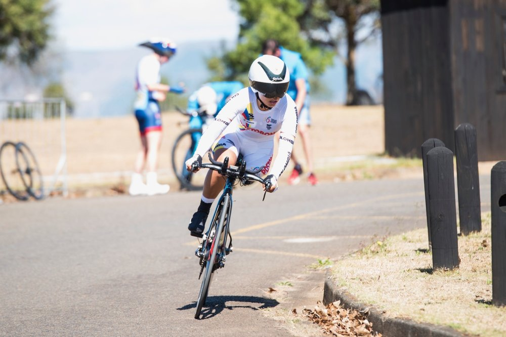 Competing in her first UCI Para-cycling Road World Championships, Daniela Florez blitzed the course to earn a gold medal in the Women's C2 race during the Time Trial on Day 2 of the 2017 UCI Para-cycling Road World Championships held at Midmar Dam Howick, South Africa, on Friday 1 September 2017. Photo credit: Andrew Mc Fadden