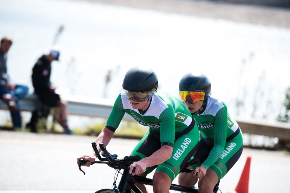 Katie-George Dunlevy and Eve McCrystal had the luck of the Irish with them when they piloted their tandem cycle to victory in the Women's Visually Impaired category during the Time Trial on Day 2 of the 2017 UCI Para-cycling Road World Championships held at Midmar Dam Howick, South Africa, on Friday 1 September 2017. Photo credit: Andrew Mc Fadden