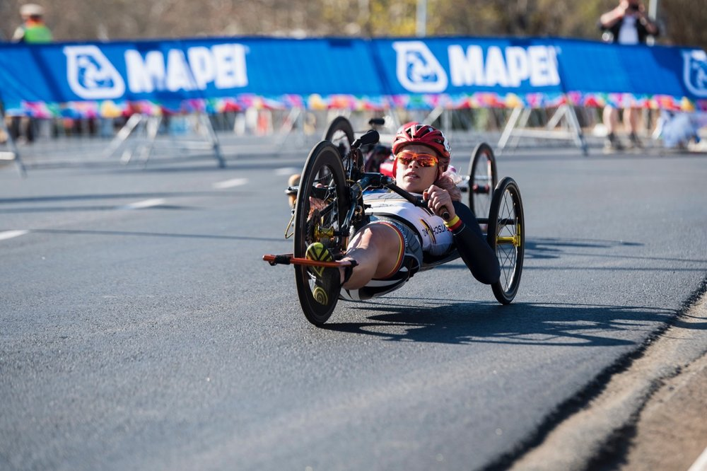 Germany's Christiane Reppe made it two-from-two when she added a Road Race gold medal to her Time Trial gold medal during the Road Race on Day 3 of the 2017 UCI Para-cycling Road World Championships held at Alexandra Park Pietermaritzburg, South Africa, on Saturday 2 September 2017. Photo credit: Andrew Mc Fadden