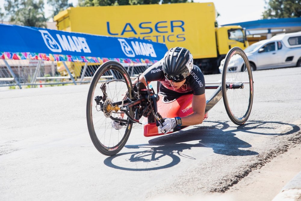 Germany's second gold medal of the morning came from Andrea Eskau, when she won the H5 race during the Road Race on Day 3 of the 2017 UCI Para-cycling Road World Championships held at Alexandra Park Pietermaritzburg, South Africa, on Saturday 2 September 2017. Photo credit: Andrew Mc Fadden