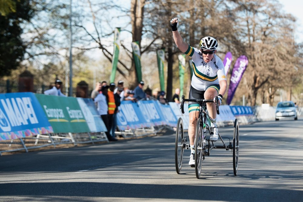 Australian Carol Cooke made it a double as well when she blitzed the Women's T2 road race over 24.3km in a time of 0:51:07 during the Road Race on Day 3 of the 2017 UCI Para-cycling Road World Championships held at Alexandra Park Pietermaritzburg, South Africa, on Saturday 2 September 2017. Photo credit: Andrew Mc Fadden