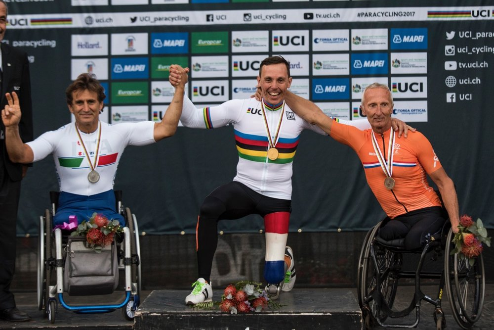 Tim de Vries (NED) out sprinted arch-rival Alessandro Zanardi (ITA) to don the rainbow jersey, while his compatriot, Johan Reekers, finished third to round out the podium for The Netherlands during the Road Race on Day 3 of the 2017 UCI Para-cycling Road World Championships held at Alexandra Park Pietermaritzburg, South Africa, on Saturday 2 September 2017. Photo credit: Andrew Mc Fadden
