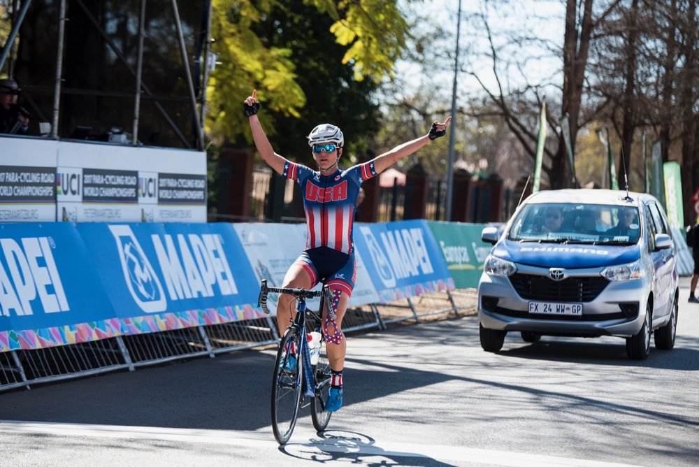 American Shawn Morelli claimed her second gold medal of the event in the Women's C4 Road Race, also covering a distance of 60.7km on Day 4 of the 2017 UCI Para-cycling Road World Championships held at Alexandra Park Pietermaritzburg, South Africa, on Sunday 3 September 2017. Photo credit: Andrew Mc Fadden