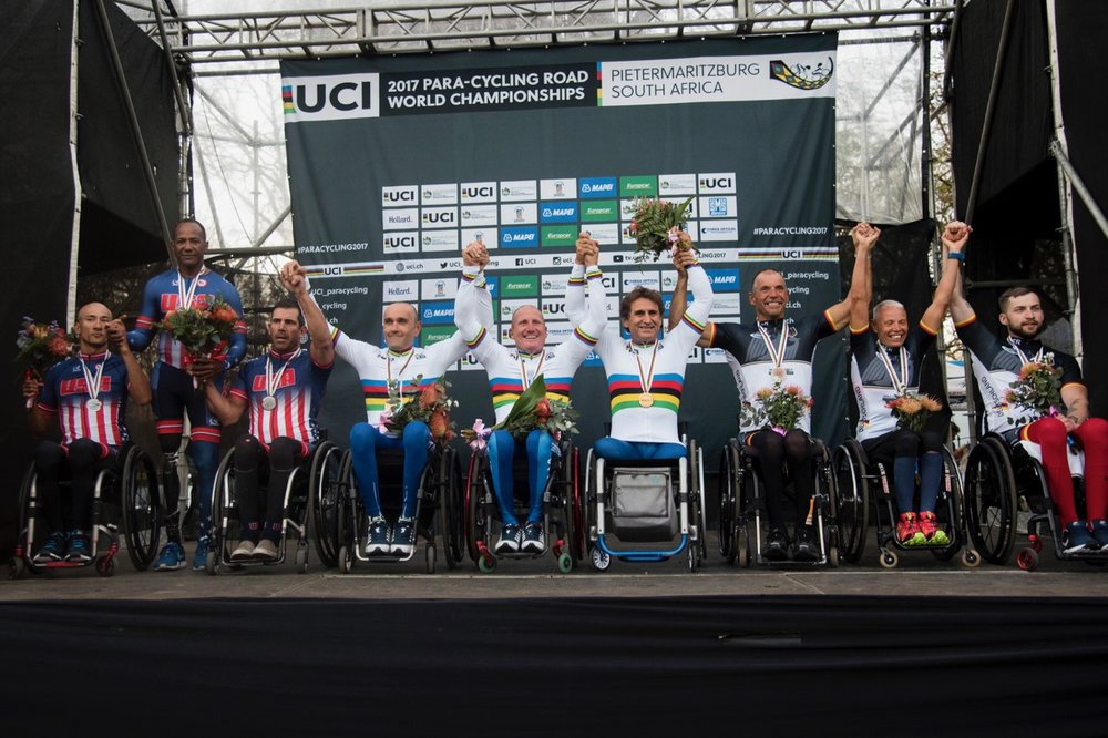 The Handcycle Team Relay brought the curtain down on what has been a superb weekend of racing. Italy's powerhouse trio of Paolo Cecchetto (H3), Luca Mazzone (H2) and Alessandro Zanardi (H5) stopped the clock on the short circuit in a time of 16 minutes 31 seconds. Team USA claimed silver, while Team Germany settled for bronze on Day 4 of the 2017 UCI Para-cycling Road World Championships held at Alexandra Park Pietermaritzburg, South Africa, on Sunday 3 September 2017. Photo credit: Andrew Mc Fadden