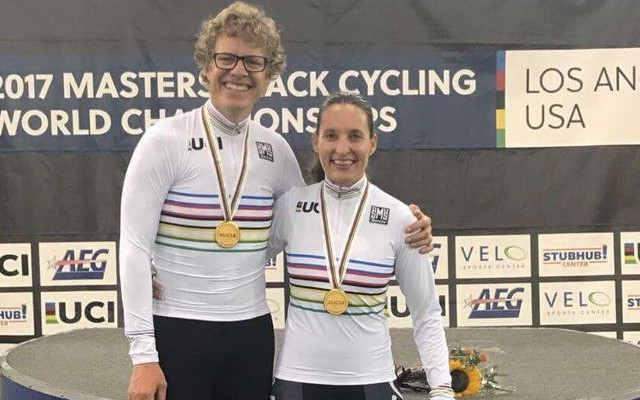 Gert Fouche and Adelia Reyneke proudly pose with their newly acquired UCI Rainbow Jerseys and shiny gold medals after winning their races at the 2017 UCI Masters Track Cycling World Championships, held in Los Angeles USA, mid October. Fouche won the 3km Individual Pursuit, the Points Race and the Scratch Race at his second ever UCI World Championships; while Reyneke won the 15km Points Race. Photo: supplied.