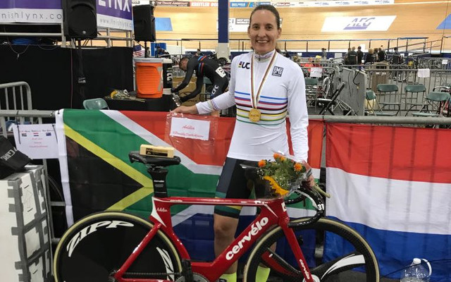 Although based in Australia for the past five years, the proudly South African Adelia Reyneke was one of the South African long list riders to compete at the Commonwealth Games Trials at the Bellville Velodrome on Friday 3 November. Photo: supplied.
