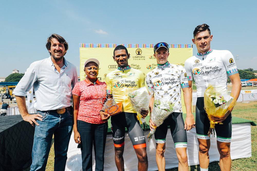 The final podium presentation from left: Mike Bradley (Cycling SA General Manager and Tour de Limpopo Race Director), Ms Sonto Ndlovu (Limpopo Tourism Agency CEO), Clint Hendricks (Team BCX) winner of the yellow jersey and the green jersey, James Fourie (ProTouch Sports) winner of the King of the Mountain and Most Aggressive Rider, and Gustav Basson (ProTouch Sports) stage winner and Best Young Rider on Stage 1 of the Tour de Limpopo from Polokwane to Tzaneen on Monday 23 April 2018 © HaydsBrown