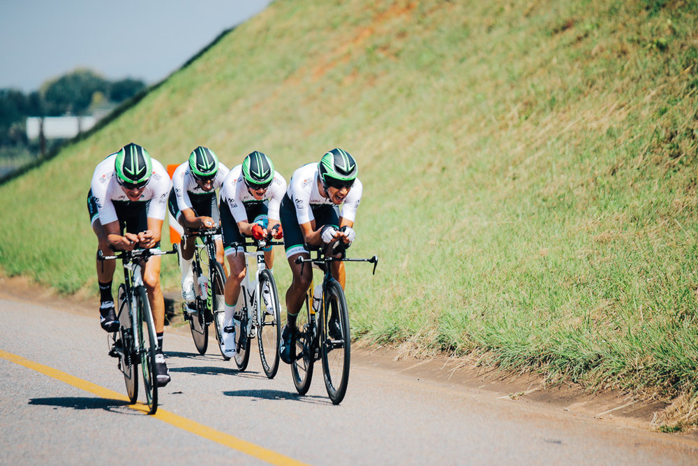 The ProTouch Sports quartet of Reynard Butler, Gustav Basson, Jayde Julius and James Fourie, who have animated most of the tour over the past two days, kept tightly together to secure the top step on the podium in a time of 37:17.945 in the Team Time Trial on Stage 3 of the Tour de Limpopo in Tzaneen on Wednesday 25 April 2018 © HaydsBrown