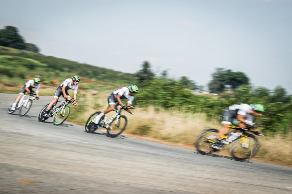 The ProTouch Sports quartet of Reynard Butler, Gustav Basson, Jayde Julius and James Fourie, who have animated most of the tour over the past two days, kept tightly together to secure the top step on the podium in a time of 37:17.945 in the Team Time Trial on Stage 3 of the Tour de Limpopo in Tzaneen on Wednesday 25 April 2018 © hilensmike