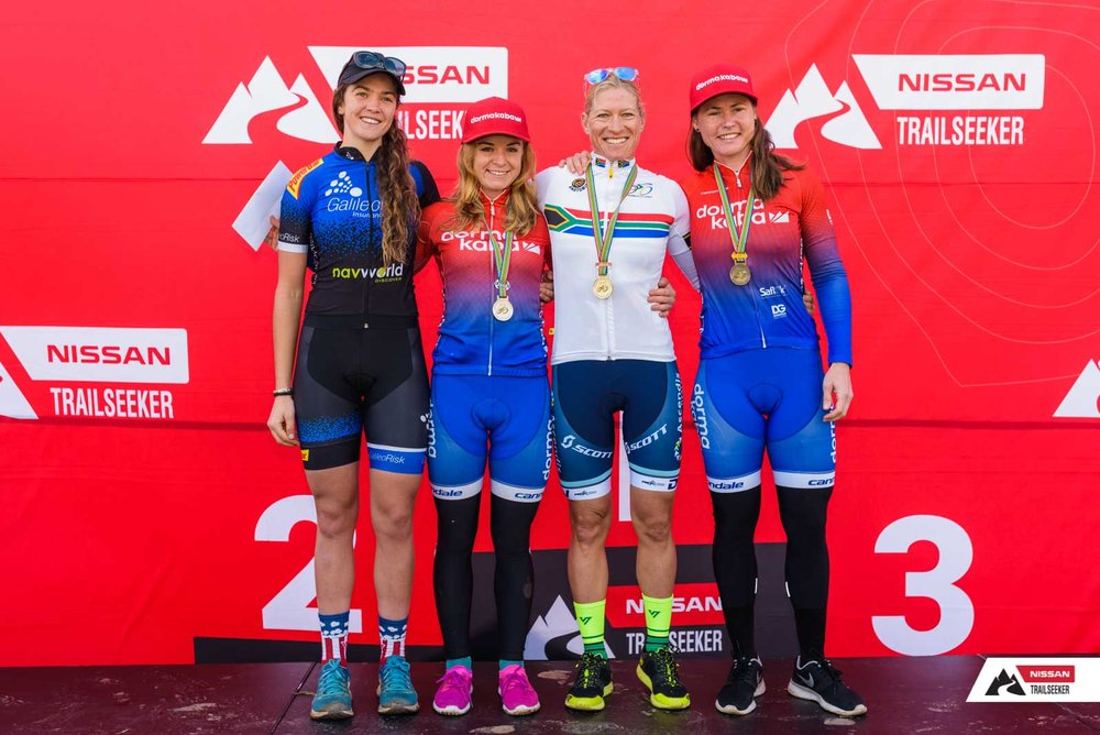 Elite Women's podium:  1. Robyn de Groot 03:58:47 /2.Amy Beth McDougall 04:00:05 /3.Samantha Sanders 04:20:23 /4.Sarah Hill