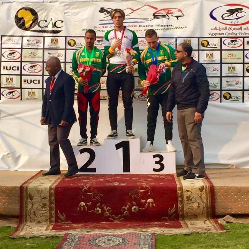 Elite Men podium at the CAC BMX African Championships 2018: 1. Dylan Eggar RSA; 2.Alex Limberg RSA; 3.Brandon Pratt RSA