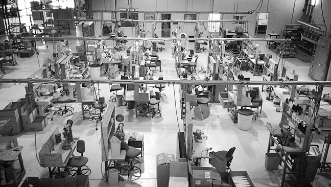 A bird's eye view from one department within the Town Talk Headwear facility.