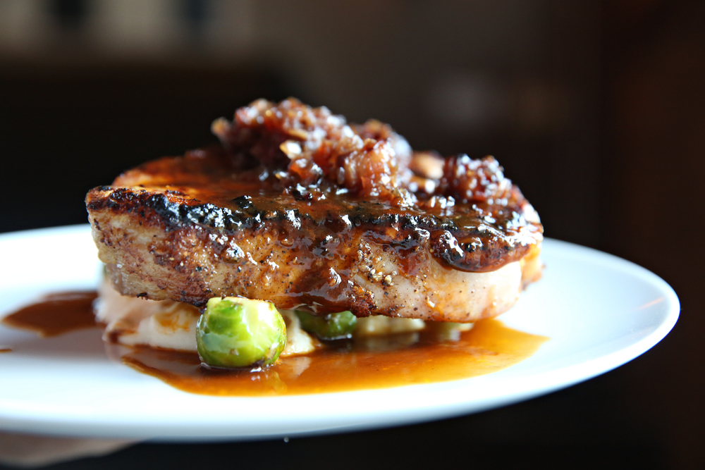 Juniper cured porterhouse pork chop
